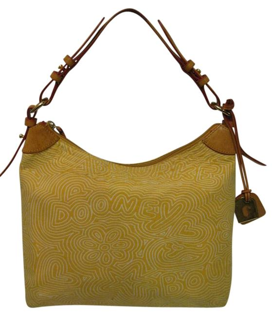 Dooney & Bourke Shoulder Bag Purse Yellow Canvas Satchel Dooney & Bourke Shoulder Bag Purse Yellow Canvas Satchel Image 1