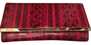 Jimmy Choo Maia Gold Hardware Red Python Clutch
