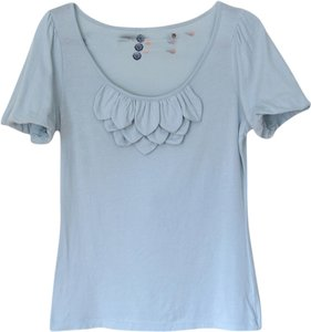 Anthropologie Scoopneck Petals Applique T Shirt Sky