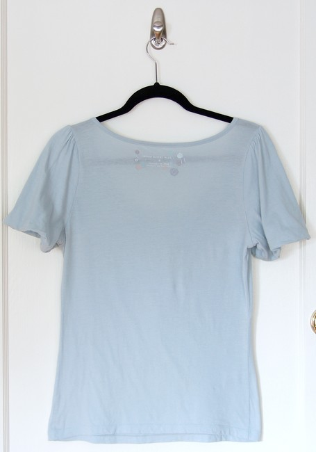 Anthropologie Scoopneck Petals Applique Neck Detail Feminine Comfortable Soft Spring Summer T Shirt Sky