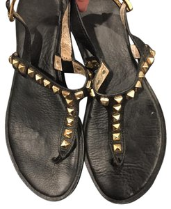 MICHAEL Michael Kors Black with Gold Studs Sandals