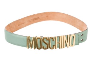 Moschino Green leather Moschino belt with gold-tone buckle L Large