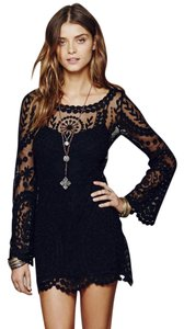 Free People short dress Black Lace Bell Sleeve on Tradesy
