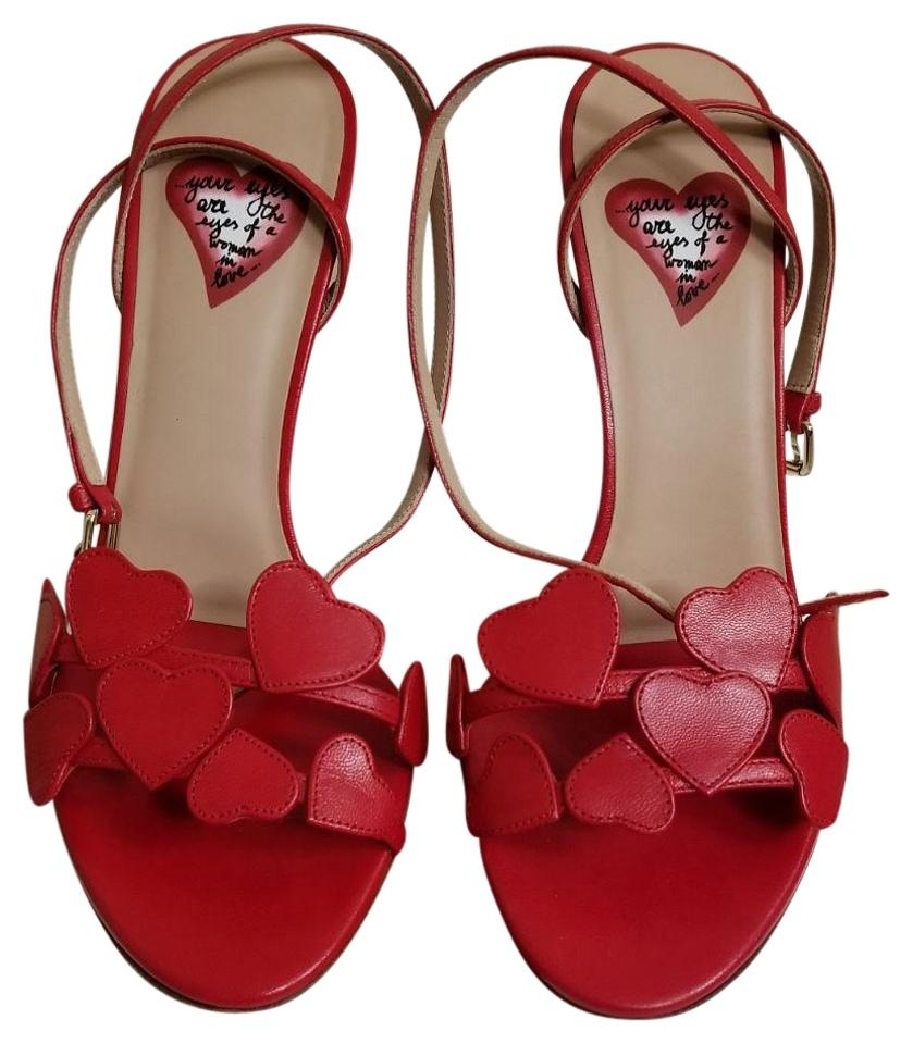 Valentino Red L'amour Leather Leather L'amour Heart Sandals 9aa668