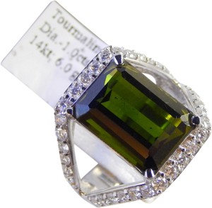 NATURAL EMERALD CUT TOURMALINE WITH DIAMONDS