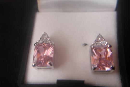 Unknown STERLING SILVER LARGE PINK RETANGLE CUBIC ZIRCONIA PIERCED POST EARRINGS NWT
