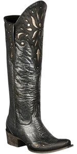 Lane Boots Leather Mule Upper Leather And Rubber Side Pull Tabs Made In Mexico Black/Grey Distressed Metallic Boots