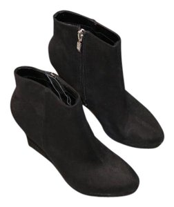 Guess Suede Bootie Leather Slim Tall black Wedges