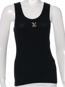 Louis Vuitton Metallic Logo Monogram Lv Beaded T Shirt Black, Silver