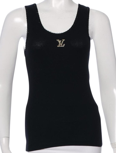 Item - Black Silver Lv Embellished Rib Knit Sleeveless M Medium Tee Shirt Size 8 (M)