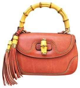 Gucci Tote Bamboo Shoulder Satchel in Tomato