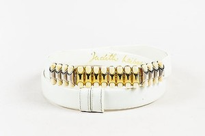Judith Leiber Judith Leiber White Leather Gold Silver Tone Plastic Embellished Buckle Belt