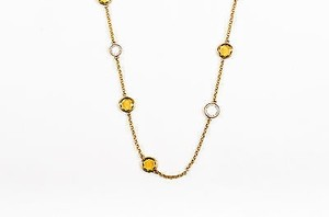 Marc by Marc Jacobs Marc By Marc Jacobs Gold Tone Olive White Embellished Station Chain Necklace
