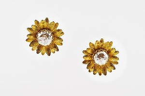 Miriam Haskell Vintage Miriam Haskell Gold Tone Faux Pearl Sunflower Earrings