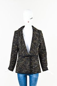 Oscar de la Renta Brown Black, Brown, Gold Tone, Cream Jacket