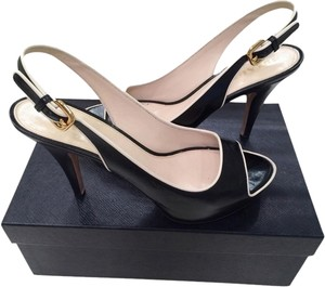 Prada Slingback Sexy Peep Toe Black and White Sandals