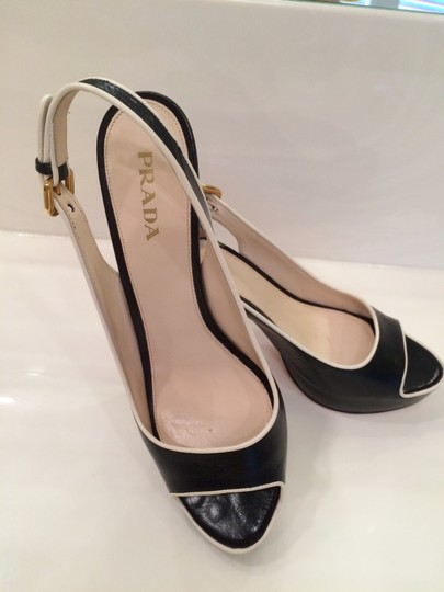 Prada Slingback Sexy Peep Toe Gold Tone Buckle High Heel Hidden Platform Comfortable Luxury Black and White Sandals