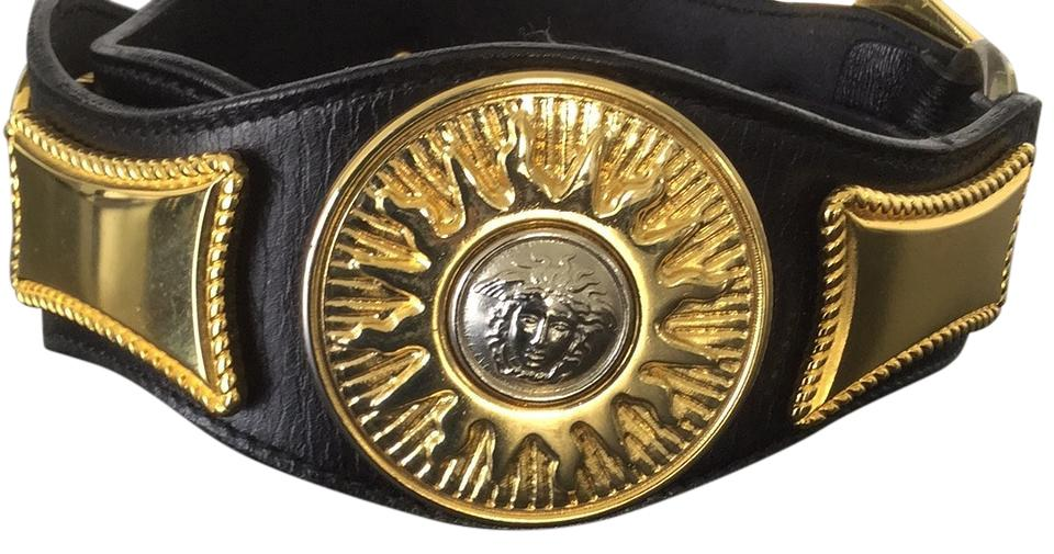 d64edf003e00 Versace Black Gold and Silver Vintage Gianni Medusa Belt - Tradesy