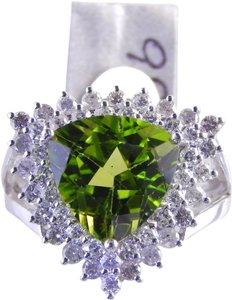 Custom-Made BEAUTIFUL TRIANGLE PERIDOT SURROUNDED BY DOUBLE ROW OF DIAMONDS