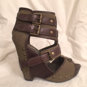 Ash Sandle Leather New Platform Boots/booties Olive Green Wedges