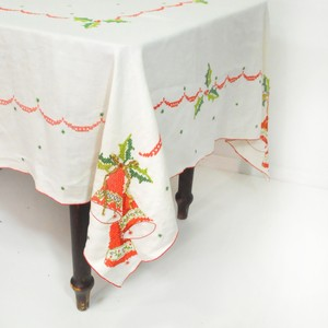 Vintage Christmas Tablecloth | Cross Stitch Tablecloth | 1960s Christmas Tablecloth
