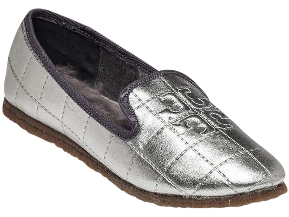 18ecd01595a578 Tory Burch Silver Cowley Metallic Leather Embossed Logo Slippers ...