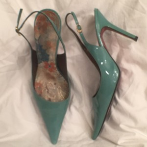 Sergio Zelcer Slingback Leather Green Pumps