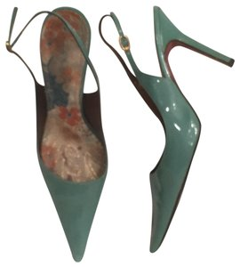Sergio Zelcer Slingback Leather Patent Leather Formal Green Pumps