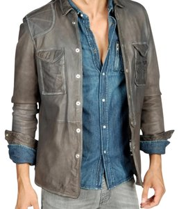 Diesel Charcoal Grey Leather Jacket