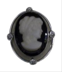 Amco Jewels Vintage Amco Jewels 14kt White Gold Overlay Cameo Brooch & Necklace