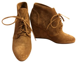 Via Spiga Wedge Lace-up Tan Suede Boots
