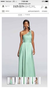 David's Bridal Mint Lace One Shoulder Long Dress