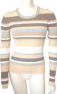 Mossimo Supply Co. Scoop Neck Striped Knit Large Top Borwn Beige Gray White