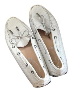 Tod's Snakeleather Loafers White Flats