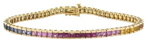 Other 8.43 Cts. 14K Yellow Gold Multi-Colored Sapphire Bracelet