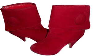Dreams Footwear Christmas Holiday Party Festive Faux Suede Red Boots