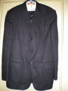 Valentino Valentino Men's Blazer Italy 50 R Large Usa 40 R Navy Blue Wool Single Breasted Three Button Jacket