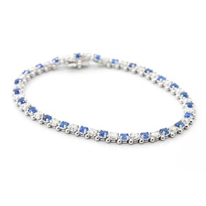 Blue 7.5 Inch Diamond and Sapphire Tennis In 14k White Gold Bracelet