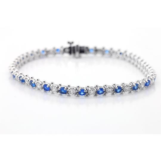 Blue 7.5 Inch Diamond and Sapphire Tennis In 14k White Gold Bracelet Image 1