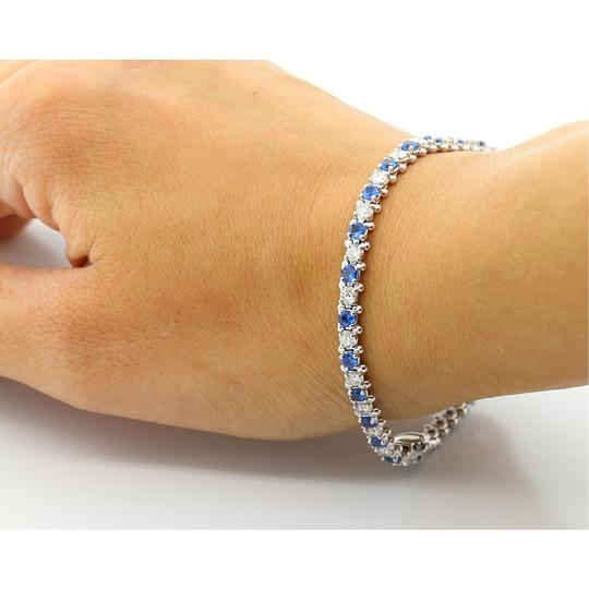 Blue 7.5 Inch Diamond and Sapphire Tennis In 14k White Gold Bracelet Image 2
