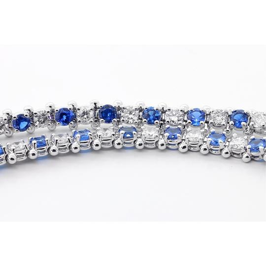 Blue 7.5 Inch Diamond and Sapphire Tennis In 14k White Gold Bracelet Image 3
