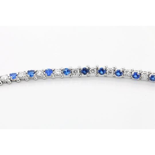 Blue 7.5 Inch Diamond and Sapphire Tennis In 14k White Gold Bracelet Image 4