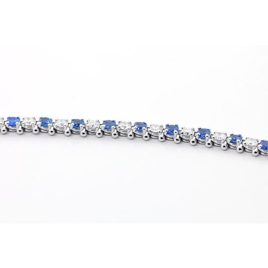 Blue 7.5 Inch Diamond and Sapphire Tennis In 14k White Gold Bracelet Image 5