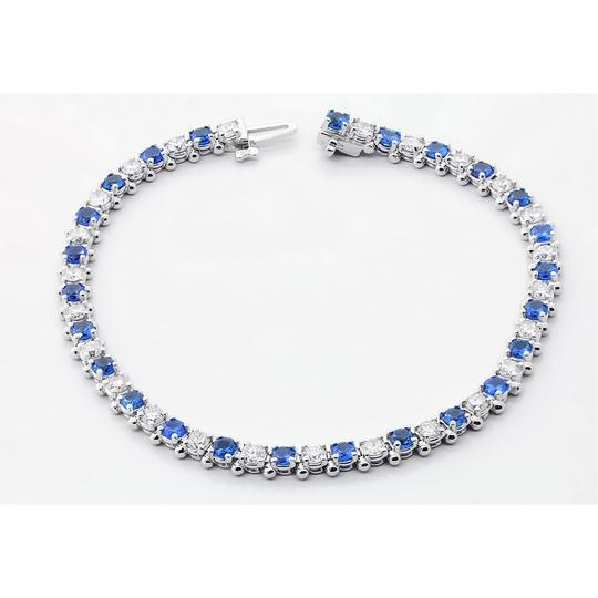 Blue 7.5 Inch Diamond and Sapphire Tennis In 14k White Gold Bracelet Image 6