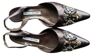 Manolo Blahnik Studded Rhinestones Leather Caffe Formal