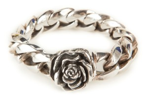 King Baby Sterling Silver Heavy Chain And Large Rose Detail Bracelet