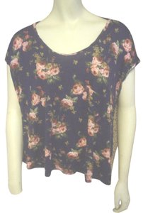 One Clothing Roses Cheetah Casual T Shirt Multi-Color
