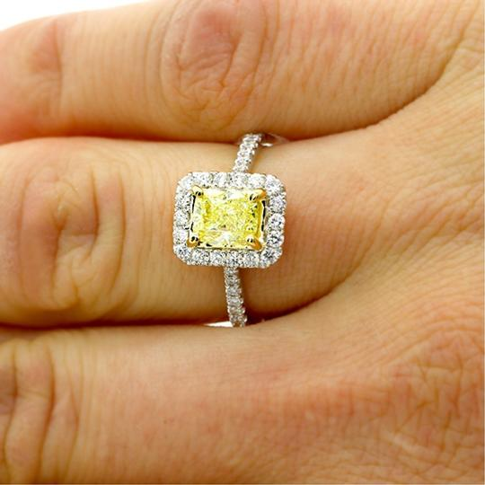 Yellow 1.43 Cts Fancy Cushion Cut Diamond Set In 18kw Engagement Ring