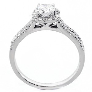 0.86 Cts Round Cut Halo Diamond Engagement Ring Set In 18k White Gold