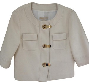 Michael Kors Preppy Classic Cropped Winter White Blazer